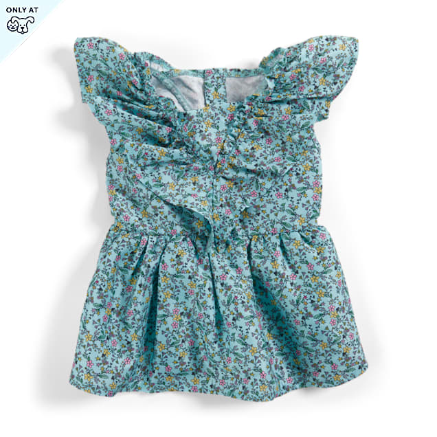 YOULY The Sophisticate Blue Floral Dog Dress, XX-Small - Carousel image #1
