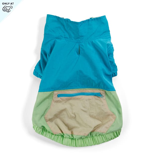 YOULY The Happy-Go-Lucky Blue & Green Colorblocked Nylon Dog Jacket, X-Small - Carousel image #1