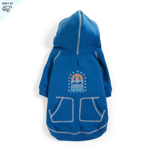 YOULY The Wanderer Slate Blue Dog Hoodie, X-Small - Carousel image #1