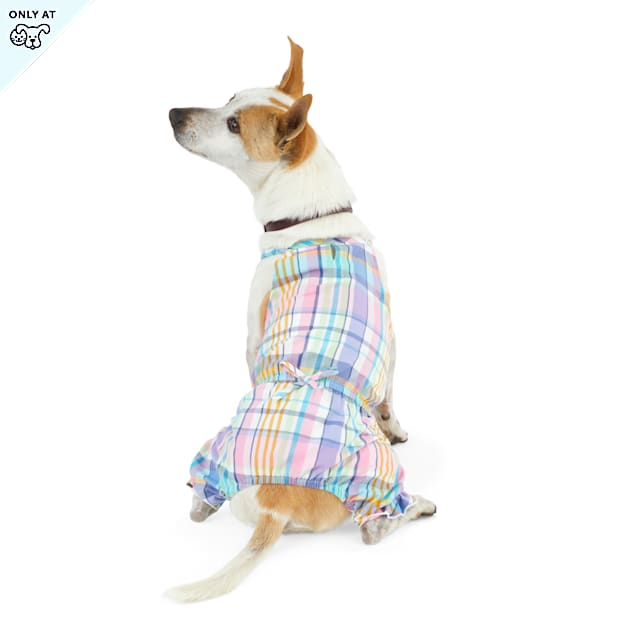 YOULY The Sophisticate Multicolor Woven Plaid Dog Romper, X-Small - Carousel image #1