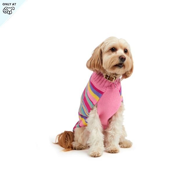 YOULY The Artist Pink & Orange Striped Knit Dog Sweater, Large - Carousel image #1