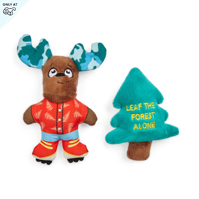 YOULY Started As A Bottle Recycled & Reinvented Leaf The Forest Alone Moose & Tree Plush Dog Toys, X-Small, Pack of 2 - Carousel image #1