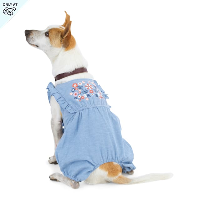 YOULY The Peacemaker Floral-Embroidered Chambray Dog Romper, XX-Small - Carousel image #1
