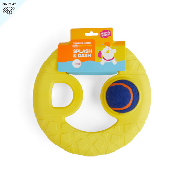Leaps & Bounds Splash & Dash Floating Flyer Water Dog Toy with Tennis Ball, Medium - Carousel image #1