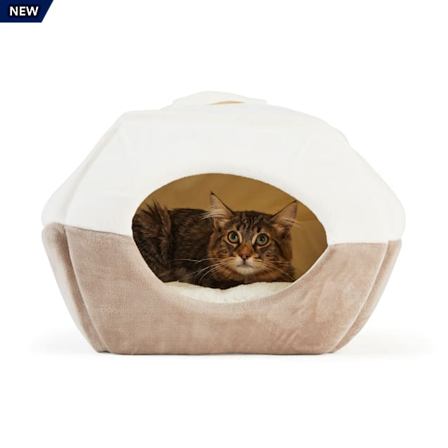 """EveryYay Snooze Fest 2 in 1 Novelty Pyramid Convertible Cat Bed, 16"""" L X 16"""" W - Carousel image #1"""