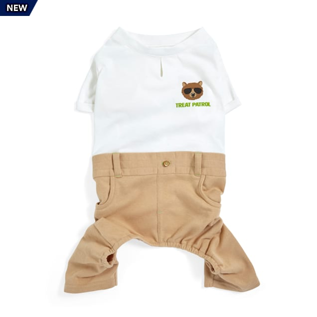 YOULY Started As A Bottle Recycled & Reinvented Cream & Tan Treat Patrol Dog Onesie, X-Small - Carousel image #1