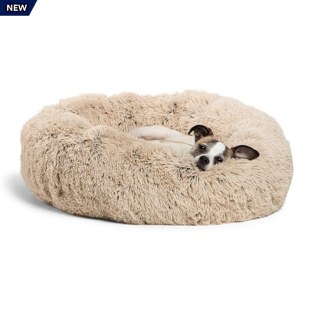 """Best Friends by Sheri The Original Calming Donut Taupe Shag Cuddler Dog Bed, 23"""" L X 23"""" W X 9"""" H - Carousel image #1"""
