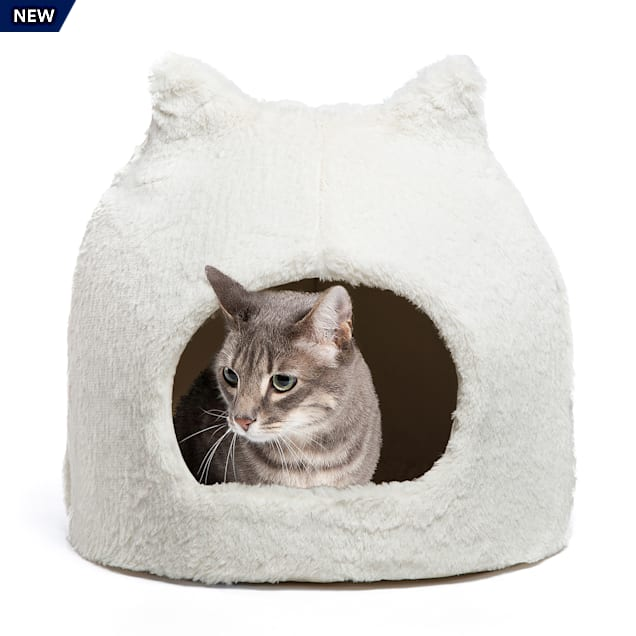 """Best Friends by Sheri Ivory Meow Hut Fur Covered Cat Bed, 17"""" L X 17"""" W - Carousel image #1"""