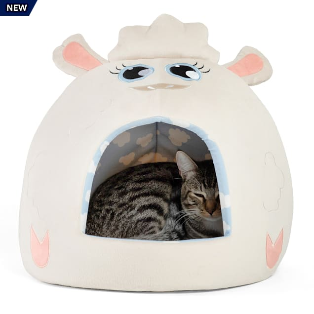 """Best Friends by Sheri Cream Lamb Novelty Meow Hut Covered Bed for Pets, 16"""" L X 16"""" W - Carousel image #1"""