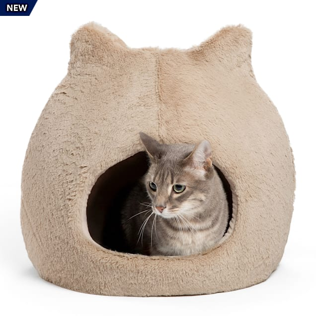 """Best Friends by Sheri Wheat Meow Hut Fur Covered Cat Bed, 17"""" L X 17"""" W - Carousel image #1"""