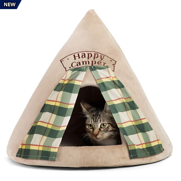 """Best Friends by Sheri Wheat Happy Camper Novelty Meow Hut Covered Bed for Pets, 20"""" L X 20"""" W - Carousel image #1"""