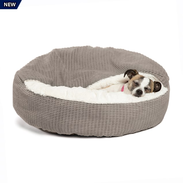 """Best Friends by Sheri Standard Gray Cozy Cuddler Hooded Cat and Dog Bed in Mason Microfiber, 23"""" L X 23"""" W - Carousel image #1"""