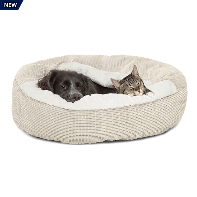 """Best Friends by Sheri Jumbo Oyster Cozy Cuddler Hooded Cat and Dog Bed in Mason Microfiber, 26"""" L X 26"""" W - Carousel image #1"""