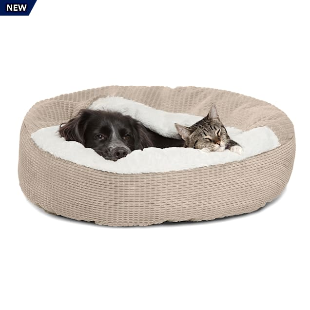 """Best Friends by Sheri Jumbo Wheat Cozy Cuddler Hooded Cat and Dog Bed in Mason Microfiber, 26"""" L X 26"""" W - Carousel image #1"""