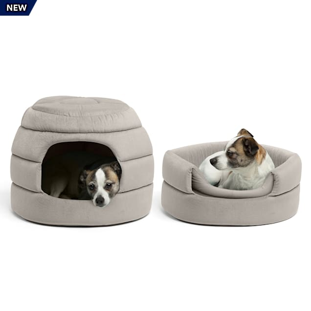 "Best Friends by Sheri Standard Grey 2-in-1 Honeycomb Ilan Hut Cuddler for Dogs, 16"" L X 16"" W - Carousel image #1"