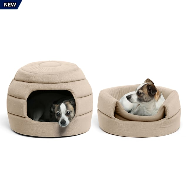 "Best Friends by Sheri Standard Wheat 2-in-1 Honeycomb Ilan Hut Cuddler for Dogs, 16"" L X 16"" W - Carousel image #1"