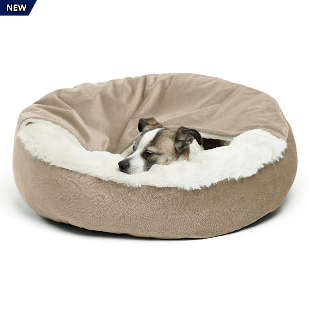 """Best Friends by Sheri Jumbo Wheat Cozy Cuddler Hooded Cat and Dog Bed in Ilan Microfiber, 27"""" L X 27"""" W - Carousel image #1"""
