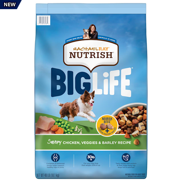 Rachael Ray Nutrish Big Life Savory Chicken, Veggies & Barley Recipe Dry Food for Big Dogs, 40 lbs. - Carousel image #1