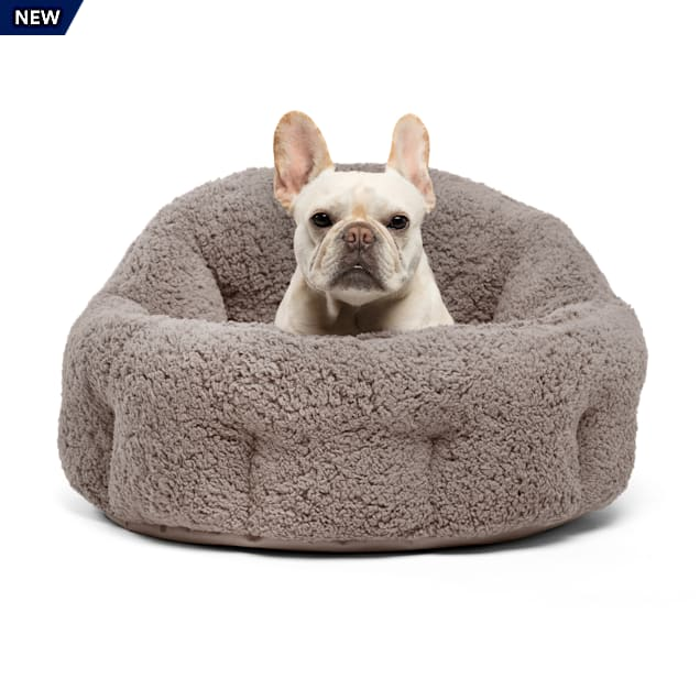 """Best Friends by Sheri Jumbo Gray Deep Dish Orthocomfort Cat and Dog Bed in Sherpa, 24"""" L X 24"""" W - Carousel image #1"""