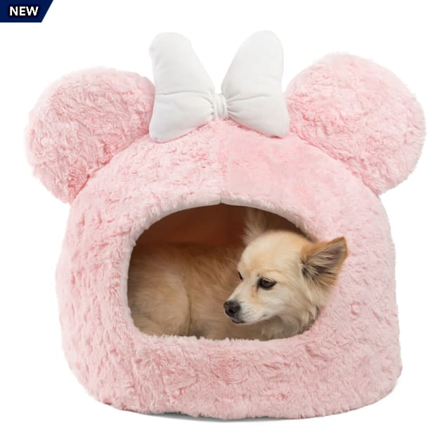 """Best Friends by Sheri Disney Standard Pink Mickey Mouse Shag Fur Cat and Dog Dome, 15.5"""" L X 15.5"""" W - Carousel image #1"""