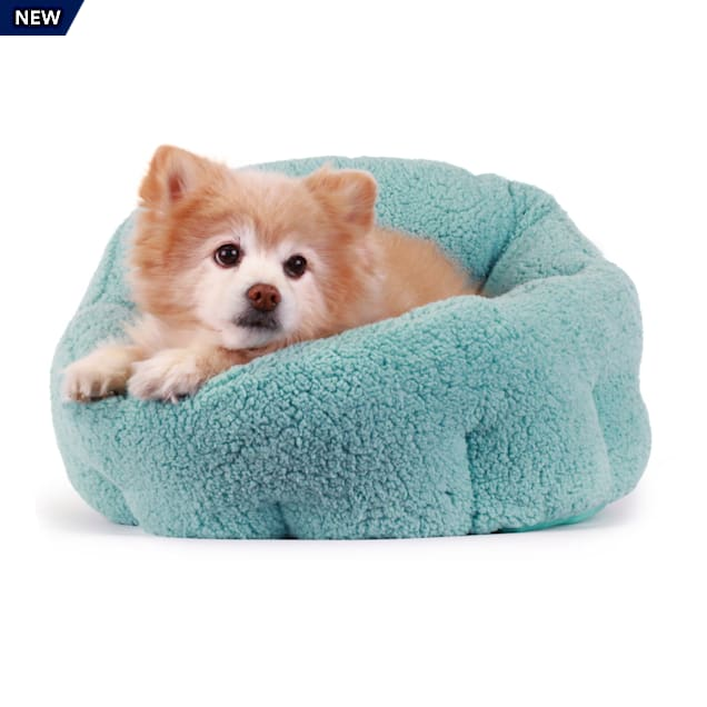 "Best Friends by Sheri Standard Teal Deep Dish Orthocomfort Cat and Dog Bed in Sherpa, 20"" L X 20"" W - Carousel image #1"