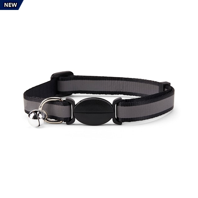 YOULY The Protector Black Reflective Striped Breakaway Large Cat Collar - Carousel image #1