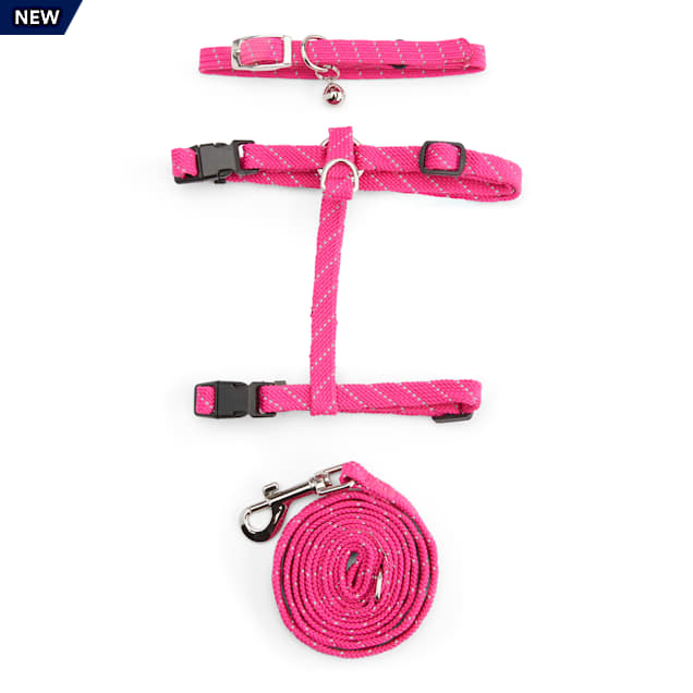 YOULY The Protector Pink Reflective Cat Harness, Collar & Leash Set - Carousel image #1