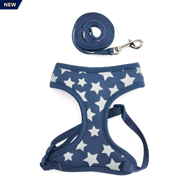 YOULY The Legend Navy Reflective Star-Print Cat Harness & Leash Set - Carousel image #1