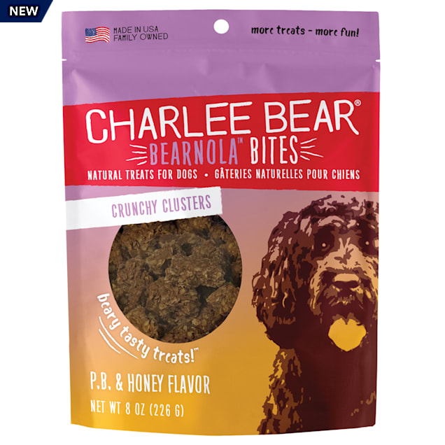 Charlee Bear Bearnola Bites Natural Peanut Butter & Honey Crunchy Cluster Treats for Dogs, 8 oz. - Carousel image #1