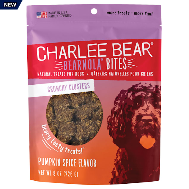 Charlee Bear Bearnola Bites Natural Pumpkin Spice Crunchy Cluster Treats for Dogs, 8 oz. - Carousel image #1