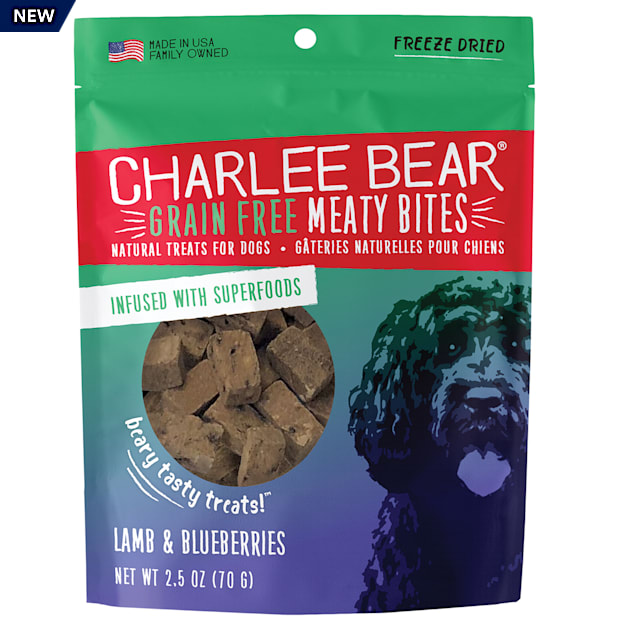 Charlee Bear Meaty Bites Natural Grain Free Lamb & Blueberries Treats for Dogs, 2.5 oz. - Carousel image #1