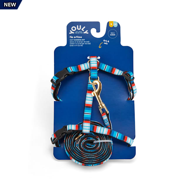 YOULY The Artisan Blue Striped Cat Harness & Leash Set - Carousel image #1