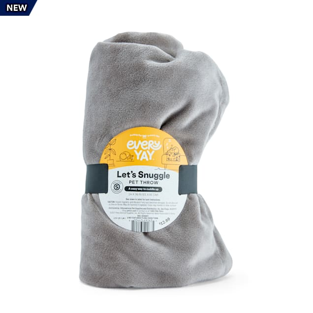"EveryYay Let's Snuggle Grey TeXtured Plush Pet Throw, 24"" L X 36"" W - Carousel image #1"