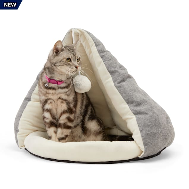 """EveryYay Snooze Fest Grey Play Cave Cat Bed With Toy, 17"""" H - Carousel image #1"""