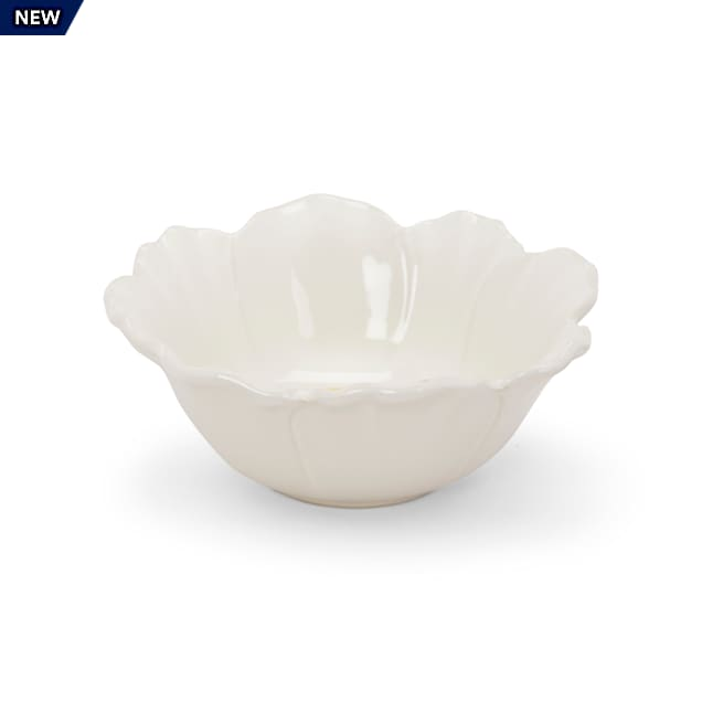 EveryYay Dining In Ivory Floral-Shaped Cat Bowl, 0.875 Cups - Carousel image #1
