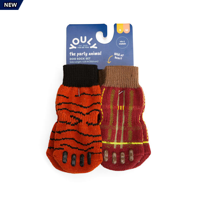 YOULY The Party Animal Tiger & Plaid-Print Dog Socks, Small/Medium, Pack of 2 - Carousel image #1
