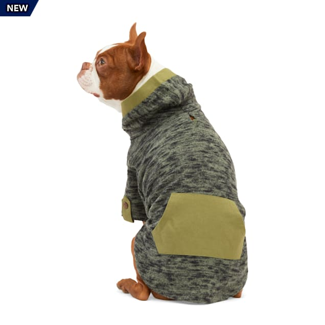 YOULY The Classic Olive Marled Knit Dog Hoodie, XX-Small - Carousel image #1