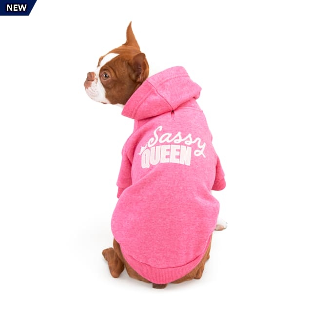 YOULY The Royal Pink Sass Queen Graphic Dog Hoodie, XX-Small - Carousel image #1