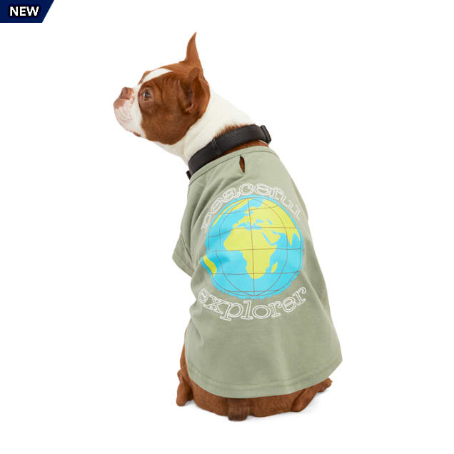 YOULY Happy-Go-Lucky Olive Peaceful Explorer Embroidered Dog T-Shirt, XX-Small - Carousel image #1