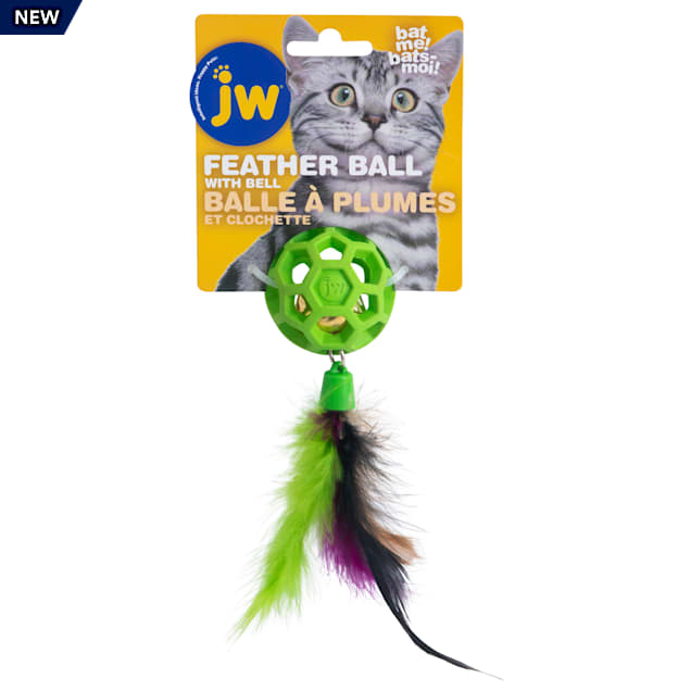 JW Cataction Feather Ball with Bell Cat Toy, Medium - Carousel image #1
