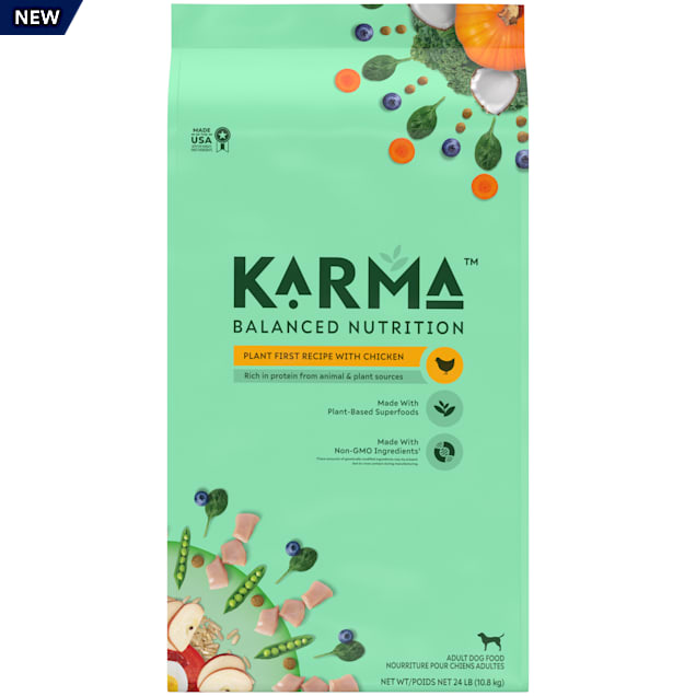 KARMA Balanced Nutrition Plant-First Recipe with Chicken Adult Dry Dog Food, 24 lbs. - Carousel image #1