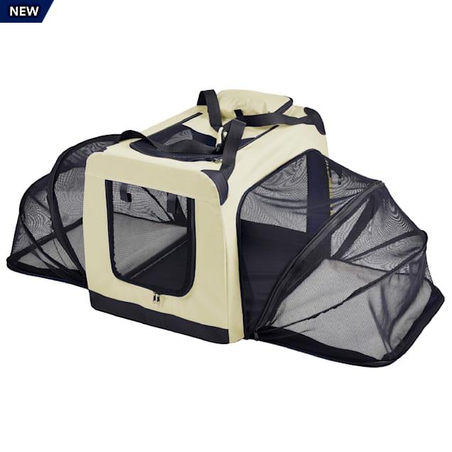 "Pet Life Kaki 'Hounda Accordion' Metal Framed Soft-Folding Collapsible Expandable Dog Crate, 31.9"" L X 22.8"" W X 22.8"" H - Carousel image #1"