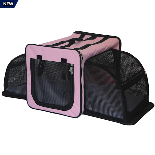 """Pet Life Pink Capacious Dual-Expandable Wire Folding Lightweight Collapsible Travel Dog Crate, 31.9"""" L X 22.8"""" W X 22.8"""" H - Carousel image #1"""