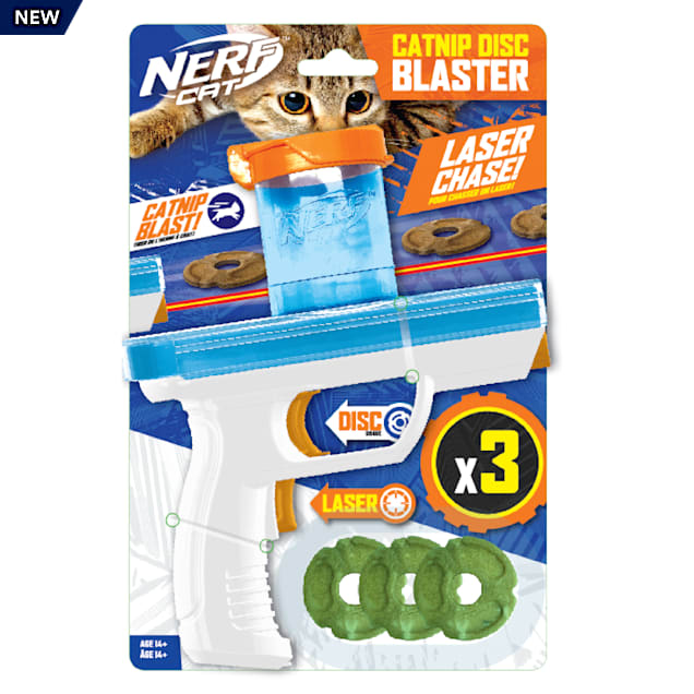 Nerf Catnip Disc Blaster Cat Toy, Small, Pack of 3 - Carousel image #1