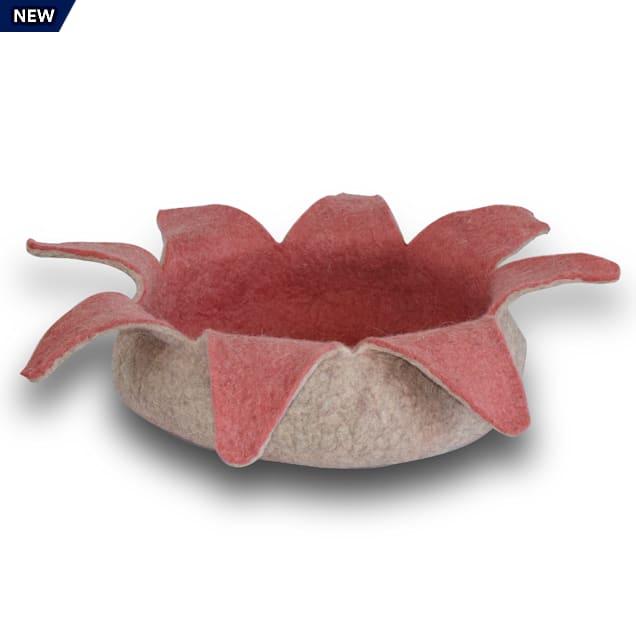 """Dharma Dog Karma Cat Rose Petal Wool Pet Basket, 14"""" L X 14"""" W X 4"""" H - Carousel image #1"""