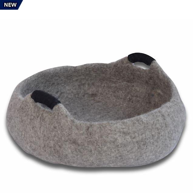 "Dharma Dog Karma Cat Grey Wool Handle Pet Basket, 20"" L X 20"" W X 6"" H - Carousel image #1"