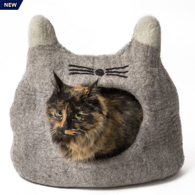 "Dharma Dog Karma Cat Face Natural Wool Pet Cave, 14"" L X 12"" W X 12"" H - Carousel image #1"