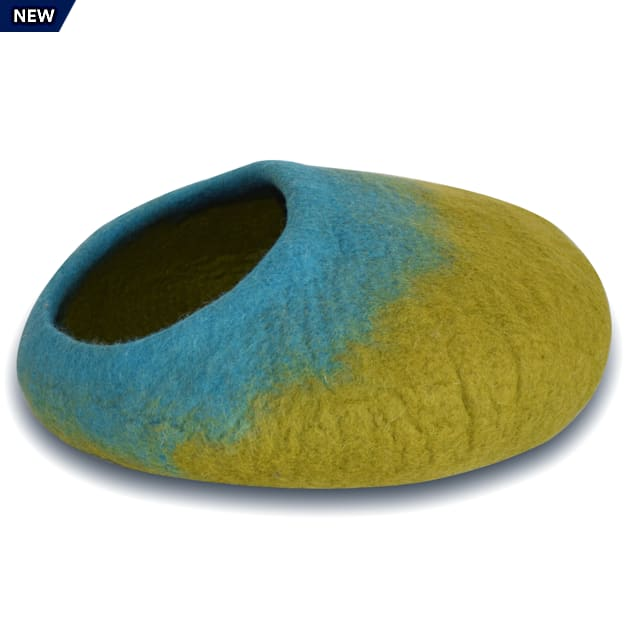 """Dharma Dog Karma Cat Ombre Green & Turquoise Wool Pet Cave, 20"""" L X 14"""" W X 10"""" H - Carousel image #1"""