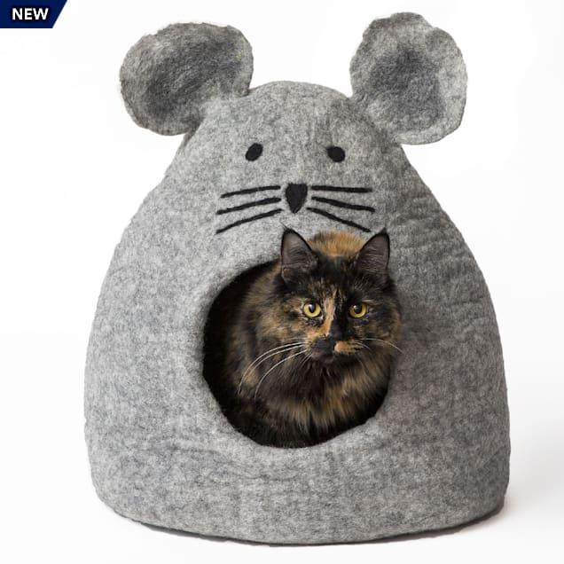 "Dharma Dog Karma Cat Mouse Grey Wool Pet Cave, 14"" L X 12"" W X 14"" H - Carousel image #1"