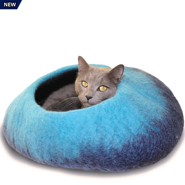 """Dharma Dog Karma Cat Ombre Navy & Turquoise Wool Pet Cave, 20"""" L X 14"""" W X 10"""" H - Carousel image #1"""